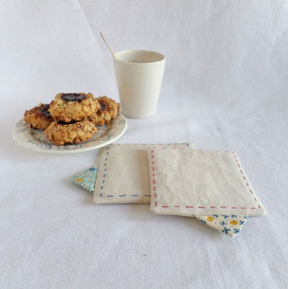 Set of 2 coasters in natural cotton with colourful by Join us For Dinner