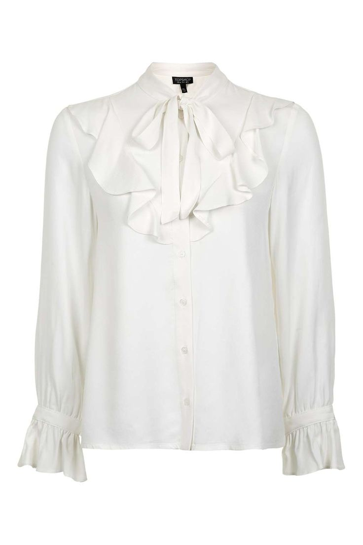 Jacquard Ruffle Shirt - Tops - Clothing - Topshop USA