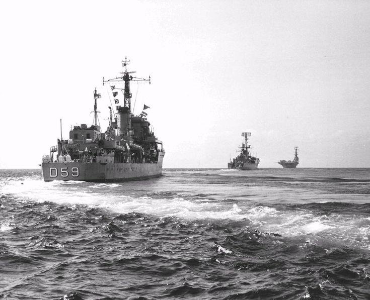 HMAS Anzac and HMAS Derwent escorting HMAS Sydney en route to Vietnam, June 1968.