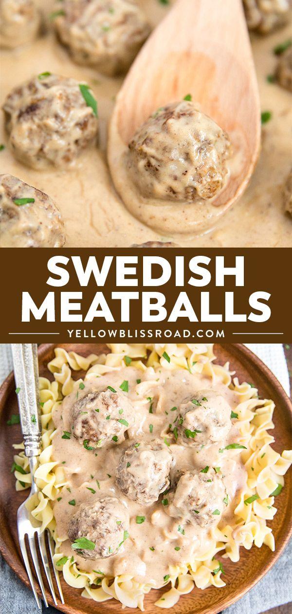 Swedish Meatballs With Sour Cream Gravy Ikea Copcat Yellowblissroad Com Recipe Ground Pork Recipes Food Recipes