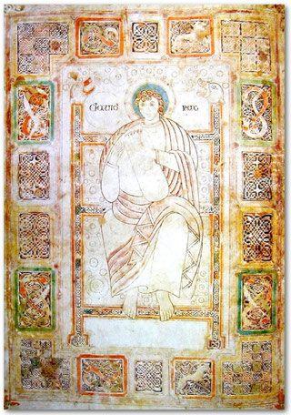 Un manuscrit conservé à la cathédrale de Durham, écrit vers 750, contient l'Expositio psalmorum de Cassiodore (+  v580). C'est un commentaire très détaillé des psaumes avec, au folio 81v, de David rex jouant de la lyre, dans le style insulaire du célèbre évangéliaire de LINDISFARNE avec ses entrelacs caractéristiques où on peut voir bondir des lions. A noter les têtes de chiens au sommet des montants du trône.