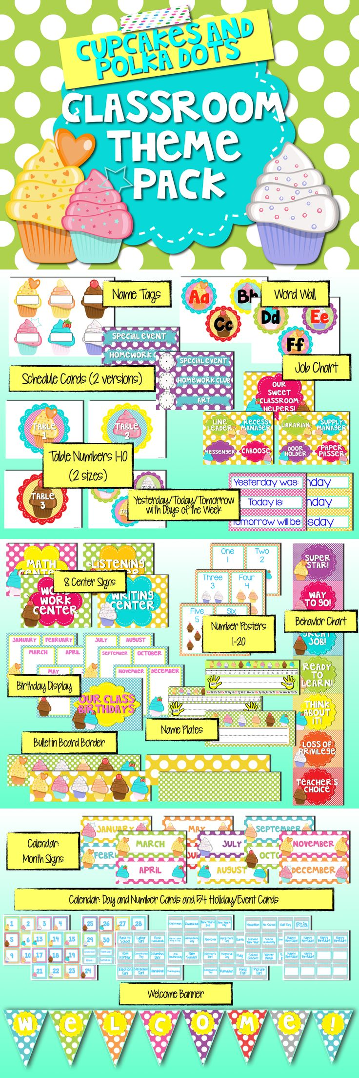 Polka Dots and Cupcakes Classroom Theme Pack...includes table numbers, name tags/plates, word wall letters, banners, birthday display, behavior chart and more - everything you need to decorate the cutest classroom ever! $