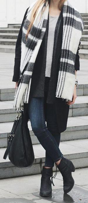 #winter #fashion / black & white stripes