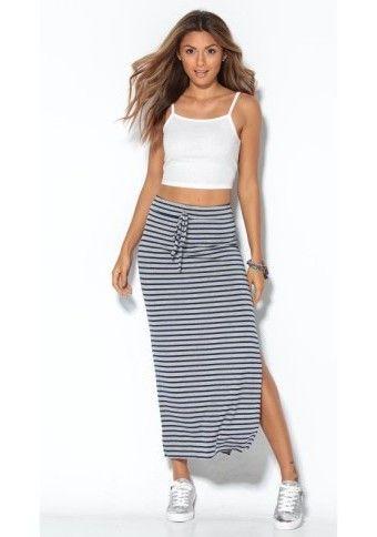 Dlhá prúžkovaná sukňa #Modinosk #LONGSKIRT #style #fashion