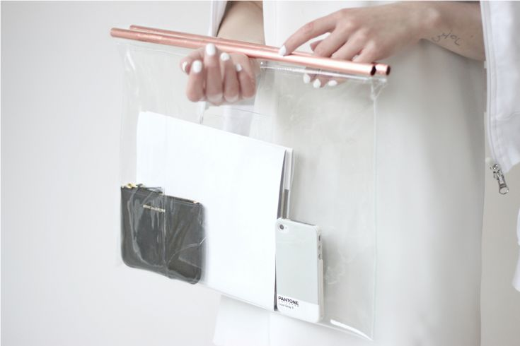 DIY Clear bag with copper handles