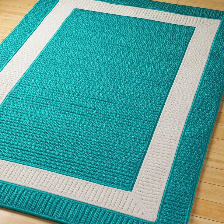 Coral And Turquoise Outdoor Rug: Border Braided Indoor Outdoor Rug Available In 11 Colors