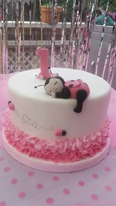 Ladybug 1st Birthday cake pink ombre ruffle