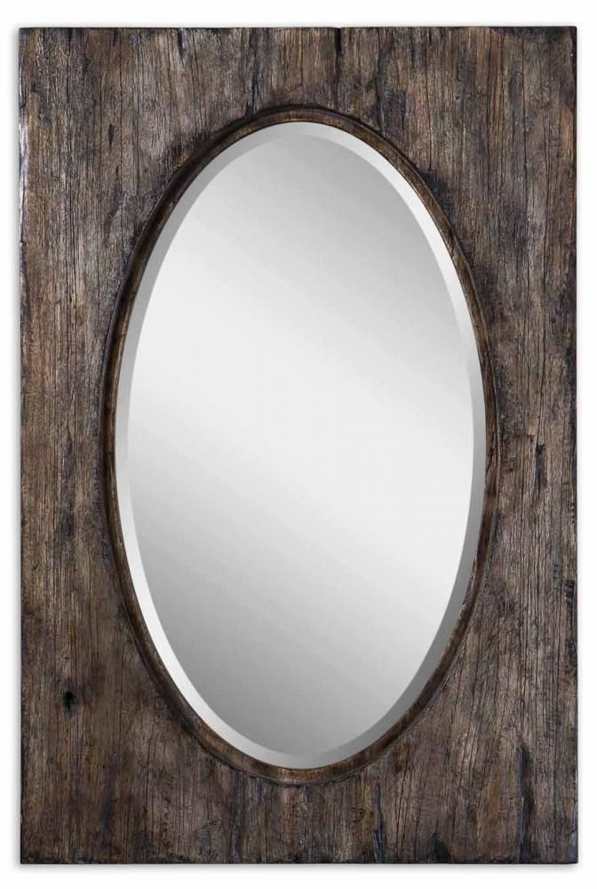 This Oval Mirror From Uttermost Has A Heavily Distressed And Antiqued Wood  Frame.