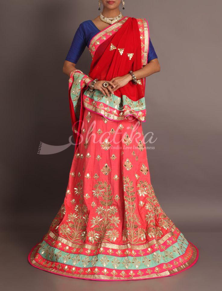 Shkuntala Devi Pink Gota Embroidered Red Gotapatti Odhani Royal Rajasthani Lehenga