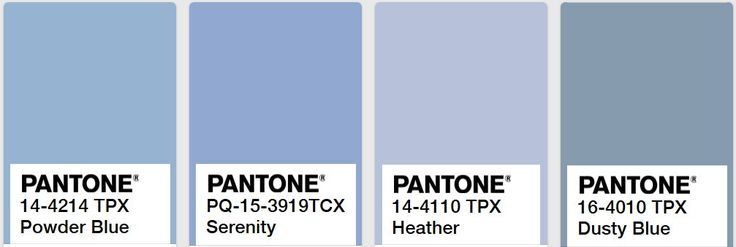 Comparing Dusty Blue, Powder Blue, Serenity and Heather Blue Pantone colors