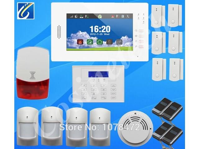 7 inch touch screen home alarm system with English/German/Italian/Dutch menu for option,kit LCD password keypad GSM alarm system