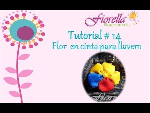 Tutorial #14 flor en cinta para llavero - YouTube