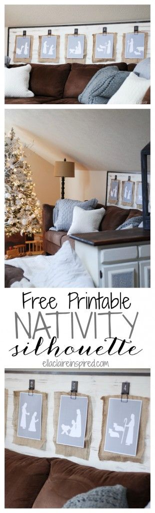 Free Printable Nativity silhouette scene. Perfect for clipping up, framing or hanging on the tree. by Ella Claire