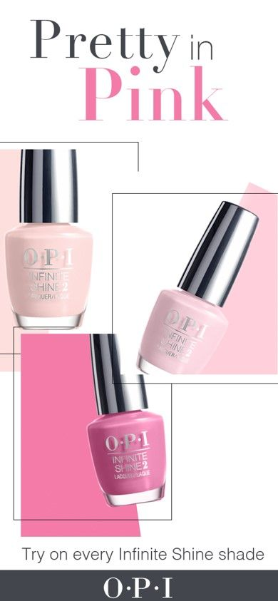 Feel pretty in pink anywhere you go with OPI Infinite Shine, a no-light gel lacquer that offers the high-shine and long wear of a gel manicure with the ease of application. Discover over 100 runway-inspired shades that last up to ten days. Get gel shine without the light and find your Infinite Shine shade.