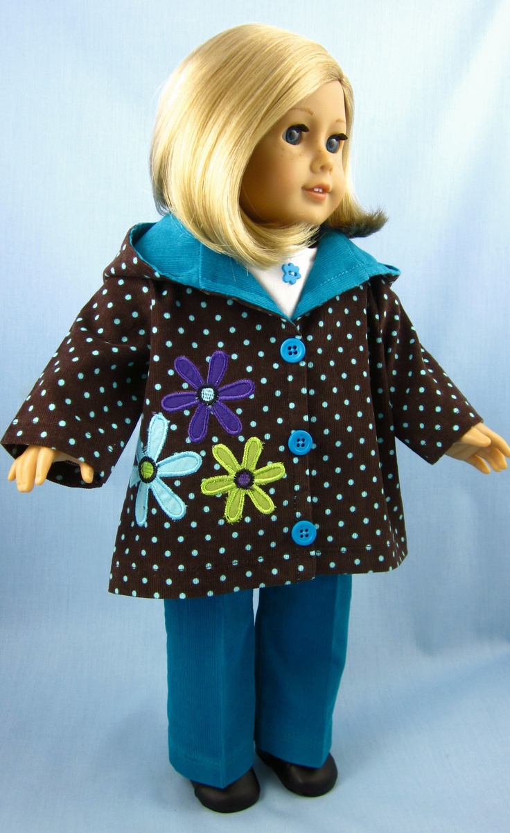 Hooded Jacket in Appliqued Polka-Dotted Corduroy with Pants and Tee Shirt. $32.00, via Etsy.