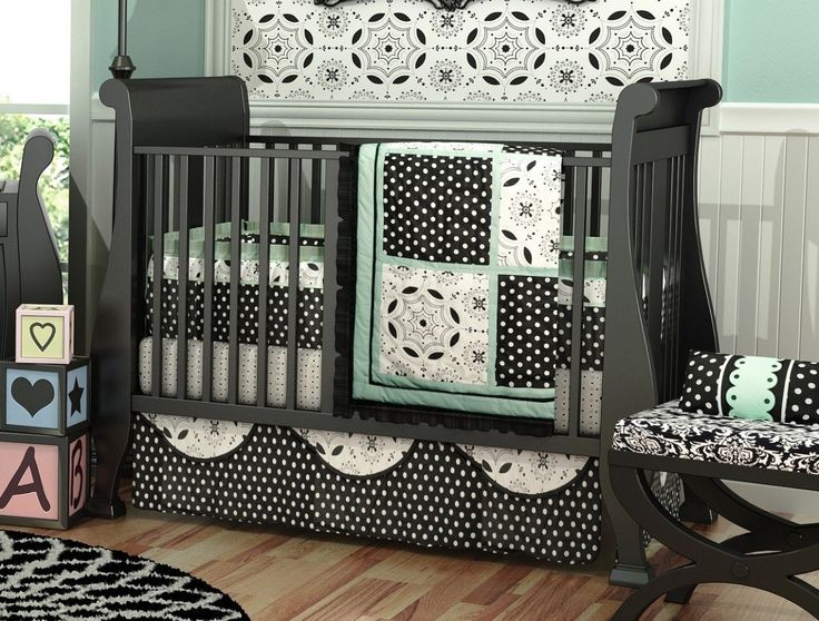 Baby Blue And Black Bedding