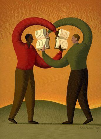 Pass it alongbibliolectors:  Sharing reading / Compartiendo la lectura (ilustración de Adam Niklewicz)
