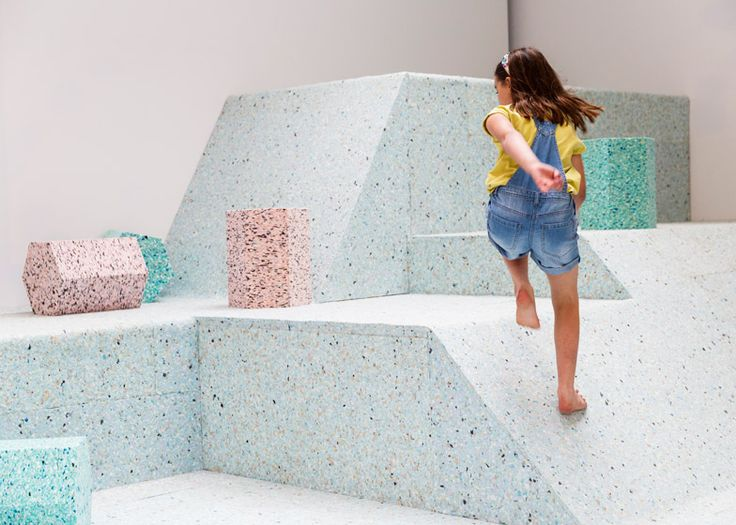Assemble's Brutalist Playground is a climbable landscape of ice-cream-coloured shapes. #school