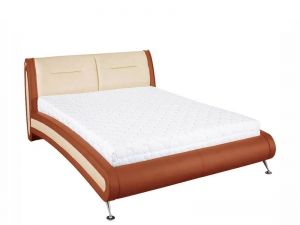 SIMONA BOGFRAN bed 140. Extremely comfortable double bed upholstered in eco-leather. Modern design. Fashionable color combination. Decorative rounded forms. Execution: frame: high quality laminated chipboard; upholstery: eco-leather. Three options of colour: cherry; brown; black. Polish Bogfran Modern Furniture Store in London, United Kingdom #furniture #polish #bogfran #bed #beds