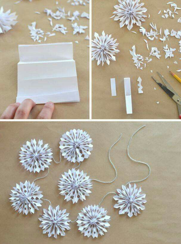HOW TO MAKE 3D PAPER SNOWFLAKES   http://www.artbarblog.com/create/handmade-holiday-paper-snowflake-garland