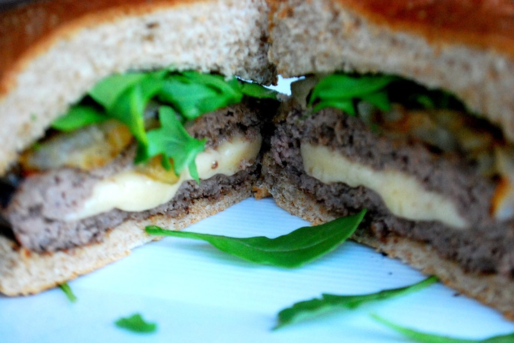 Asiago stuffed balsamic burgers. Recipe: 1lb lean ground beef, 1/4C ...