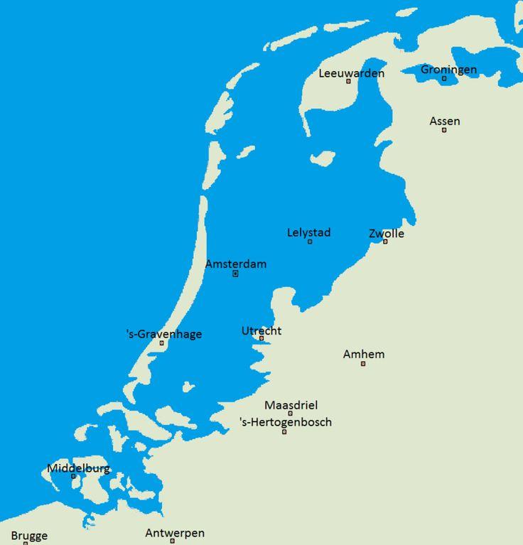 Imagem de satélite do território dos Países Baixos e mapa ilustrando as regiões do país que estão abaixo do nível do mar.
