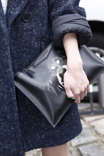 Isabel Marant coat and givenchy clutch