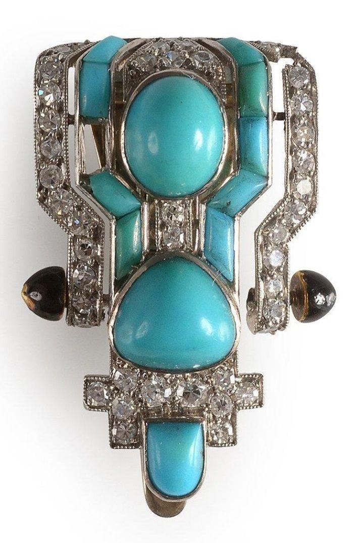 An Art Deco gold, platinum, turquoise and diamond clip, French, circa 1930. #ArtDeco #clip