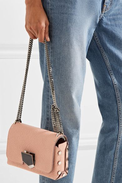 Jimmy Choo - Lockett Petite Textured-leather Shoulder Bag - Antique rose - one size