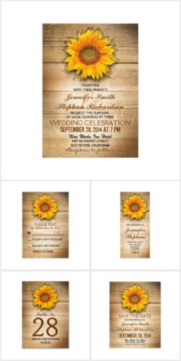 Country Sunflower Wedding Suite Sunflower rustic country wedding invitations, RSVP cards, save the date cards, thank you cards, table number cards, program cards, postage, address labels, and more with wood texture background. For country wedding in a barn, farm or ranch.