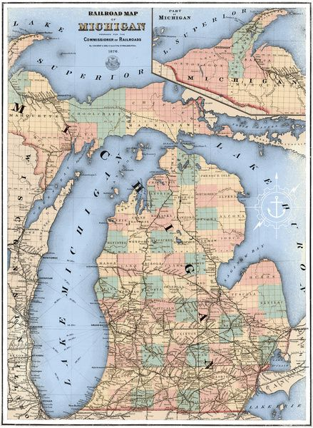 Michigan Railroad Map Framed Art Print by The Mighty Mitten Great