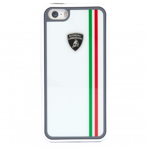 This Tricolor series iPhone cover is white and features the Automobili Lamborghini shield on the back and a vertical tricolor stripe. Suitable for iPhone 5/5s. 100% Plastic.