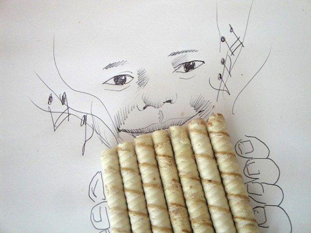 線畫與日常生活物品的生動呈現。Victor Nunes 與脆笛酥