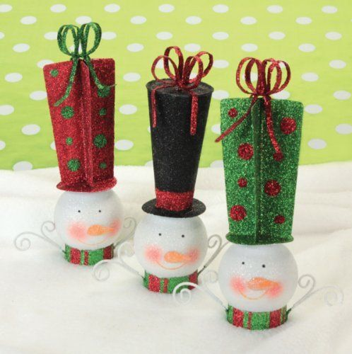 Playful Snowmen Ornaments (6) BizV0R