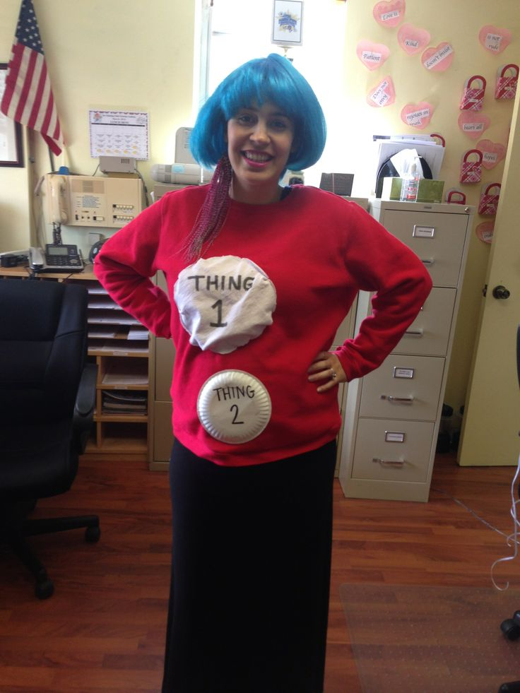 Ms. Christy as Thing 1 and baby to be as Thing 2.