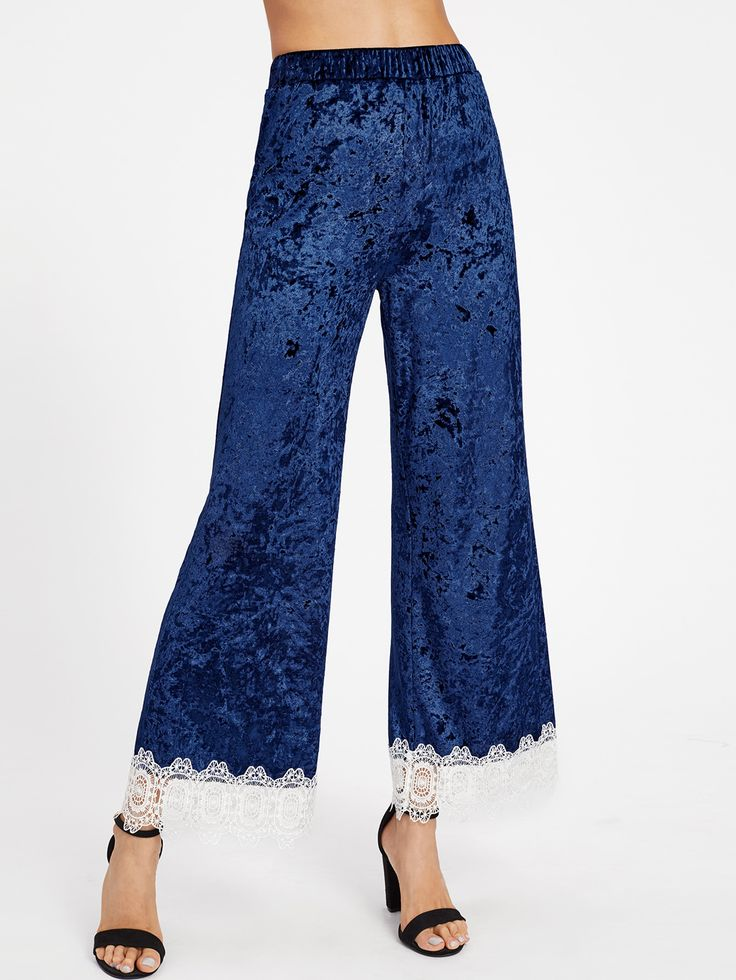 Shop Contrast Lace Trim Crushed Velvet Palazzo Pants online. SheIn offers Contrast Lace Trim Crushed Velvet Palazzo Pants & more to fit your fashionable needs.