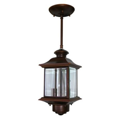 motion sensor 14 high antique bronze outdoor hanging light 129 exter. Black Bedroom Furniture Sets. Home Design Ideas