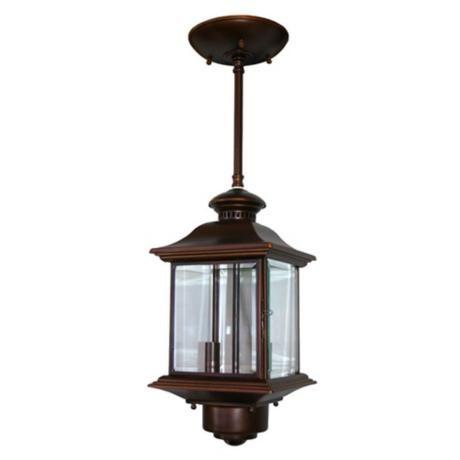 Motion sensor 14 high antique bronze outdoor hanging for Front porch hanging light