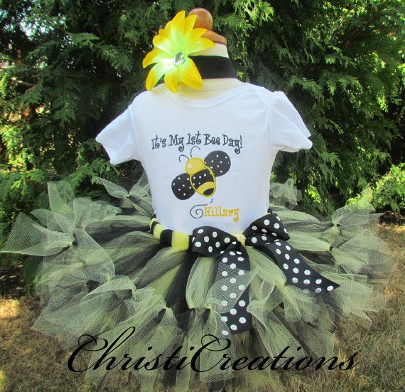 It's My 1st Bee Day Bumble Bee Custom Boutique Birthday Petti Tutu and Onesie Set 1st Birthday Personalized