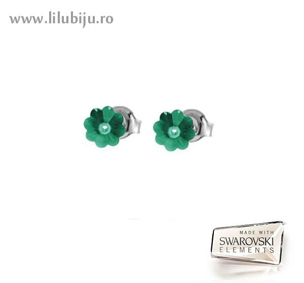 Cercei Swarovski Elements™ - Flori Margaritas Verde Emerald by LiluBiju (copyright)