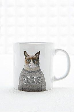Ohh Deer - Tasse chat intello grincheux blanche