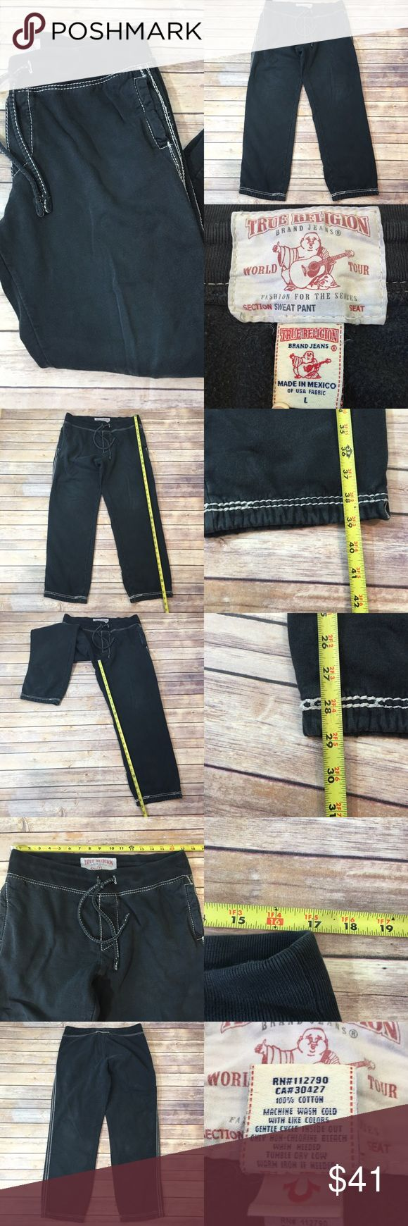 🆕Sz Large True Religion Men's Sweatpants Gray Measurements are in photos. Normal wash wear, ankle ties missing, no holes or stains. C1  Ask about a bundle discount on all items that are not ⏰Flash Sale items! I ship everyday. I always package safely. If I run out of boxes, I will use priority bags over a polymailer bag. If you prefer to only receive this great item in a box, please let me know! Thanks! True Religion Pants Sweatpants & Joggers