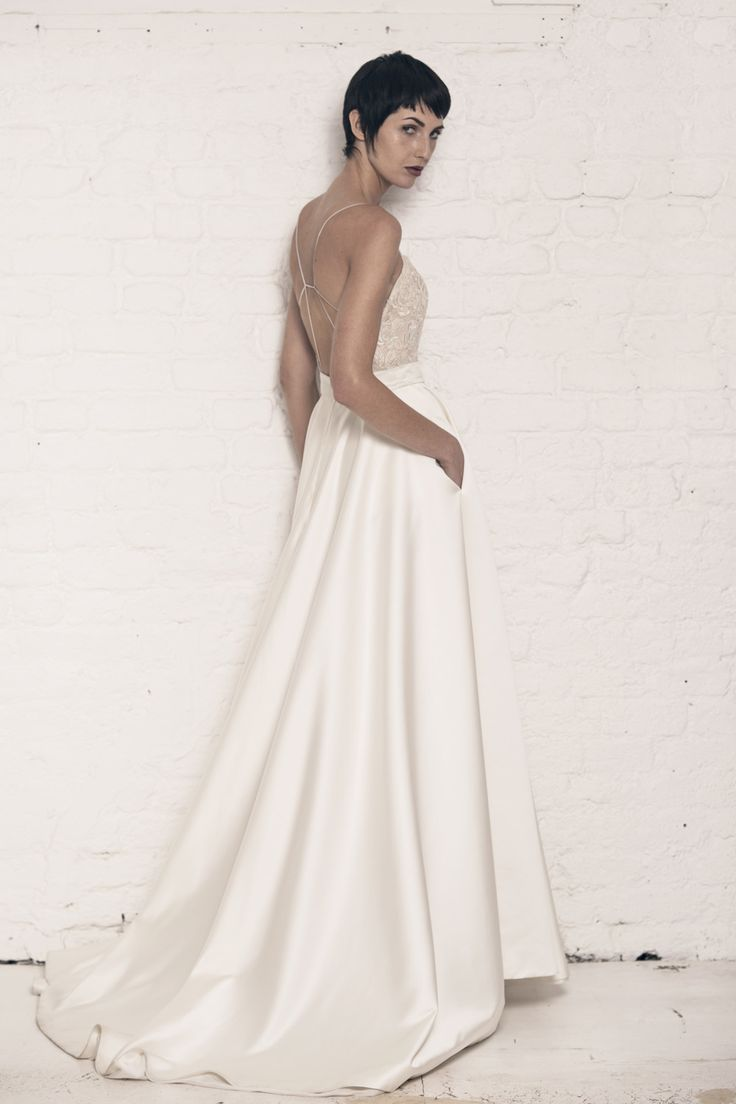 Modern wedding dress for the contemporary bride. Rosie dress. Silk duchess backless ballgown with corded lace top.