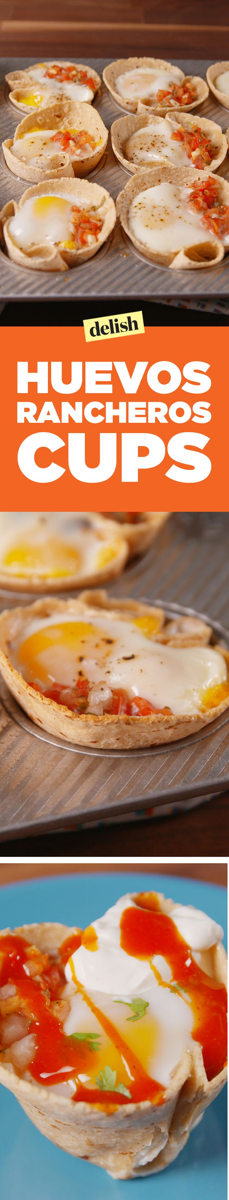 Muffin tin huevos rancheros cups are the easiest way to feed a hungry brunch crowd. Get the recipe on Delish.com.