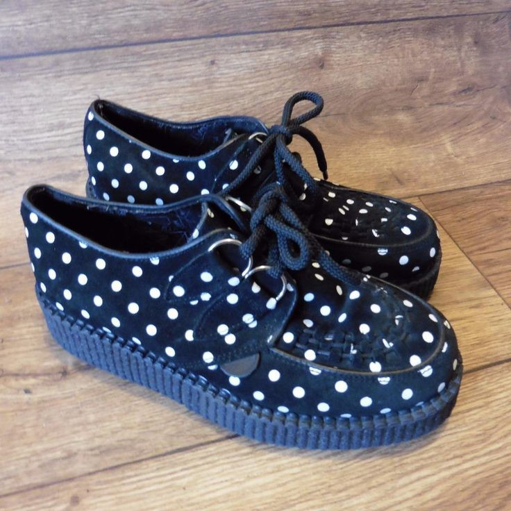 SIZE UK 4 UNDERGROUND SHOES BLACK SUEDE POLKA DOT WULFRUN CREEPERS CUSTOM MADE | eBay