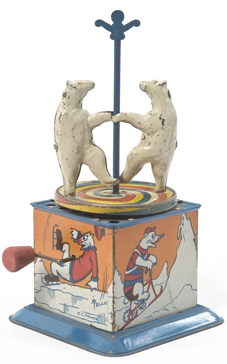 Antique Polar Bears Dancing  Around The Maypole Music Box