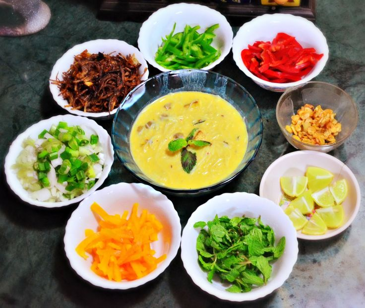 Burmese Khow Suey. Creamy coconut soup with assorted condiments. Completely Vegan