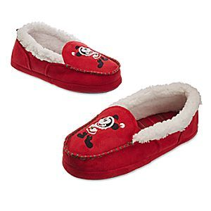 womens 7/8-Santa Mickey Mouse Slippers for Adults | Disney Store Give your feet a gift and wrap them up in these holiday slippers. Santa Mickey makes his presence felt on the front of these suede moccasins that feature a soft faux sheepskin lining and padded plaid footbed.