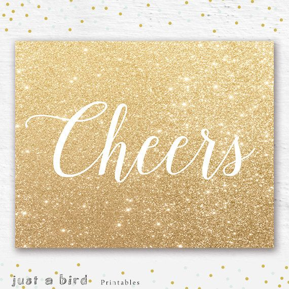 Cheers Party PRINTABLE Art Print 8x10 Gold Glitter Holiday