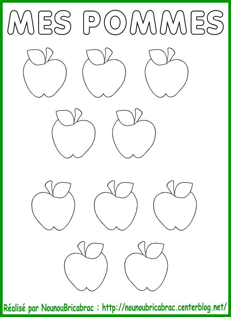 Pommes à colorier et découper pour coller dans le pommier